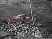 Aerial view of Hodgeville in 1959. Circled area is the Hodgville High School under construction.
